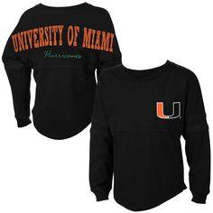 Miami Hurricanes Girls Youth Pom Pom Long Sleeve T-Shirt - Black