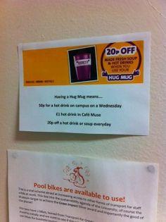 Promo of hug mugs in Marketing office - Kat