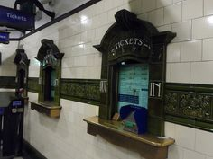 Tiled tickets windows at Edgware Rd tube station in London Vintage London, Old London, London Pictures, Old Pictures, London Underground Tube, Bothy, London History, London Transport, Train Station