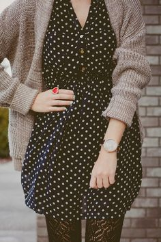 Cozy Cardigan With Polka Dots and Cute Ring