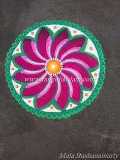 "Today thoughts of kolam..... ""Keep your face always toward the sunshine and shadows will fall behind you."" Freehand flower design kolam done by Mala Bushanamurty"