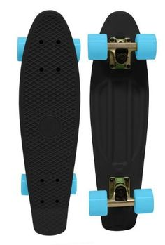 """Retro Plastic Skateboard 70's Banana Board Cruiser Black/Blue by Paradise. $69.98. Paradise offers this 22.5"""" X 6"""" Plastic Injection-Molded Deck with 3.125"""" Raw Paradise Mini Trucks, 59mm x 44mm 78a Wheels, and Precision Speed Bearings. This cruiser is a retro dream, bringing back the style of boards that were popular in the mid 70's. Featuring the classic waffle-board tread on top, this board specializes in quick, tight turns, and comes with a drawstring mesh pack! ..."""