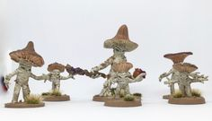 Painted fantasy miniatures for miniature wargaming or roleplaying like dungeons and dragons.  More on: http://glueanddice.com/myconids-from-otherworld-miniatures/