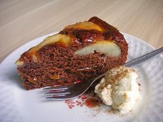 The Chocolate pear cake is an original German cake and is very easy to bake. The recipe is using egg liquor which you can make at home. Great coffee cake.