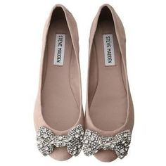 Steve Madden Nude Flats with Crystal Bows on Top Cap