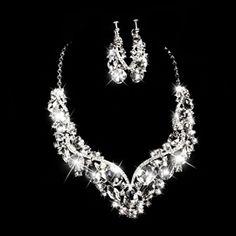 Schmuck & Zubehör Treazy Einfachen Blatt Design Strass Kristall Hochzeit Schmuck Sets Für Frauen Funkelnden Halskette Ohrringe Braut Schmuck Sets