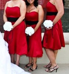 Alfred Angelo 6453 Claret and Black :  wedding black bridesmaids ceremony dress empire red Bridesmaids Dresses