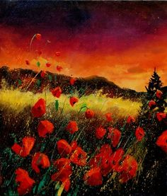 "Saatchi Online Artist Pol Ledent; Painting, ""poppies at sunset"" #art"