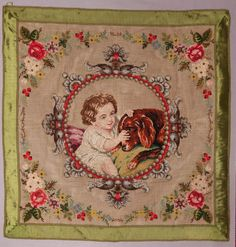ANTIQUE VICTORIAN BEADWORK / BERLIN WOOLWORK EMBROIDERY - CHILD & PET DOG