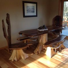 Handcrafted, Natural Edge Walnut Dinning Table Set, High Back Chairs Are  Walnut Burl Slabs