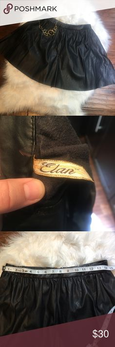 """Elan Black Leather Skater Skirt A Line Skirt New without tags. I bought this a while ago at a boutique and never wore it, now it doesn't fit me. About 14 3/4"""" laying flat. Has pockets too! Elan Skirts Circle & Skater"""