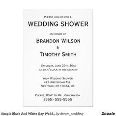 Simple Black And White Gay Wedding Shower Invites