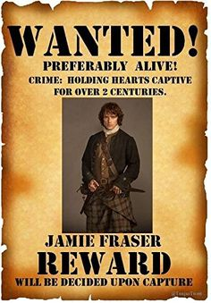 JAMIE OUTLANDER WANTED POSTER - PHOTO FRIDGE MAGNET