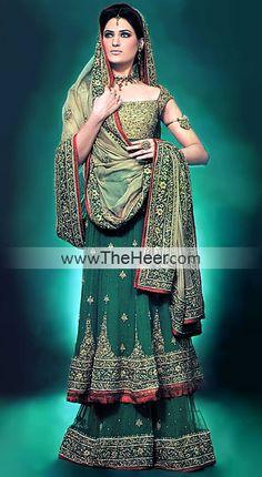 BW6408 Deep Jungle Green Crinkle Chiffon Sharara Green Bridal Dresses Pakistan, Green Bridal Outfits Pakistan, Green Bridals India Pakistan Bridal Wear