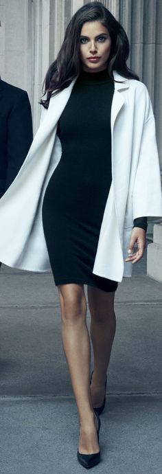 Black dress, black shoes and a white coat - LadyStyle