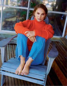 Natalie Portman, photographed by Matt Jones for Marie Claire France, Dec 2016. Weekend outfit. Fall outfit. Orange sweater.