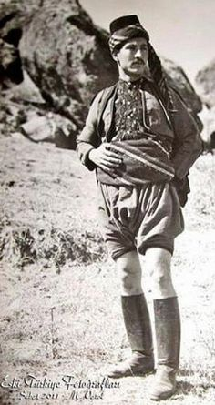 A man in traditional costume of the 'zeybek' (people's militia).  Afyon province, ca. 1925.