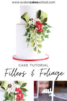 Learn how to make sugar filler flowers, sugar berries, and sugar leaves and edible foliage for your Christmas bakery menu this year. With our cake decorating tips and tricks, you'll be able to make the most stunning Christmas cakes, adorned with gorgeous sugar arrangements! Avalon Cakes School, for intermediate and professional cake and cookie decorators, with hundreds of cake tutorials, cookie tutorials, and cake decorating masterclasses. Cake Decorating For Beginners, Cake Decorating Techniques, Cake Decorating Tutorials, Drip Cake Tutorial, Fondant Cake Tutorial, Christmas Cakes, Holiday Cakes, Cake Design Inspiration, School Cake