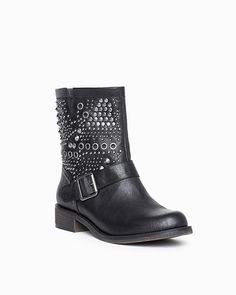 The Max - Go all out rocker chic in this studded moto boot. The detailed design of the rows gold-toned studs and buckle gives a modern and unique feel, and it's easy to style from day to night.