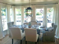 More Idea House Pictures Great way to do drapes in a room with lots of windows! -Hannah Parker Home Sunroom Dining, Floor To Ceiling Curtains, Dining Room Curtains, Sheer Curtains, Kitchen Curtains, Room Chairs, Window Curtains, Dining Area, Kitchen Dining