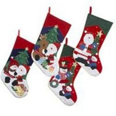 Set of 4 Embroidered Santa with Friends Christmas Stockings 5071d19b4