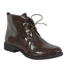 Retro Chic Pointed Toe Brogue Lace Up Low Heel Ankle Boots High Top Shoes