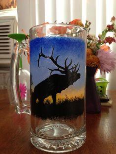 Hand painted elk beer mug