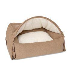 Cave Dog Bed (Kamelfarbenes Flannel) Das Hundebett, das ihren Terrier an eine kuschlige Höhle erinnert. - Kona Cave, Cave Dog bed. Stylish, soft and cozy beige flannel.