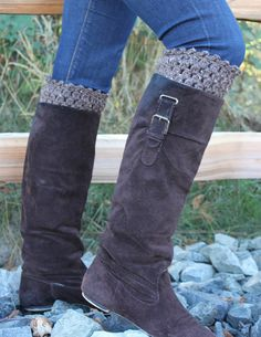 Crochet Boot Cuffs Leg Warmers Boot Socks Taupe - LOVE this look!