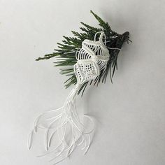 White Christmas Ornament. Macrame home decor. by RetoDecor on Etsy