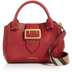 Burberry Buckle Small Leather Satchel ($977) ❤ liked on Polyvore featuring bags, handbags, handbag satchel, burberry purses, genuine leather handbags, red satchel purse and red leather handbags