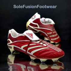 adidas Predator Absolute Football Boots Red sz PowerPulse Cleats US 10 EU 44 Nike Football Boots, Football Trainers, Soccer Shoes, Soccer Cleats, Adidas Predator, Trx, Adidas Men, Stripes, Footwear