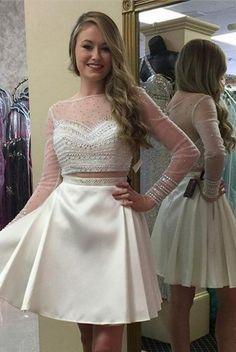 56cefa6693e Long Sleeves Beading Two Pieces Handmade Homecoming Dresses K439