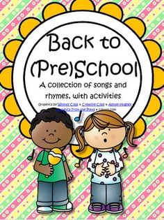 This is a 27 page collection of greeting songs with activities for the first week of school, for preschool and pre-K. Includes songs, poems, chants about welcoming, names, friends, things we use at school etc. All in black/white for easy printing.