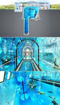 This Deepspot will have an underwater tunnel, conference rooms, training rooms and hotel rooms with views of the pool. Deepest Swimming Pool, Swimming Pools Backyard, Deepest Pool, Diving Pool, Unusual Hotels, Interior Design Presentation, Backyard Pool Designs, Dream Pools, Modern Bedroom Design