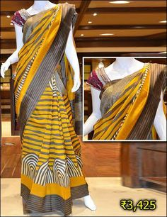Look gorgeous in this party wear yellow & grey dupion silk saree.
