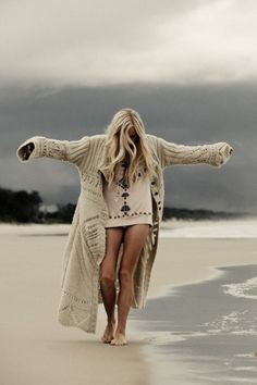 long knitted cardigan. cream. hippie. Might think about this for my next knitting project!