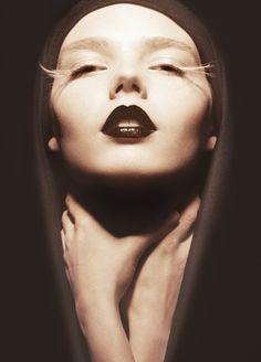 black lips - white feather eyelashes