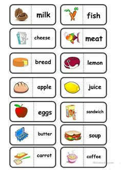 food, domino worksheet - Free ESL printable worksheets made by teachers Learning English For Kids, English Worksheets For Kids, English Lessons For Kids, Kids English, English Activities, English Words, English Grammar, Teaching English, Learn English