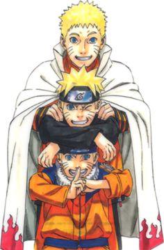 Naruto Uzumaki: Part I, Part II and adult wearing his regular orange jumpsuit.