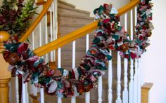 Jingle Bell Garland - What a fun way to add to your Christmas decorating!    This garland measures 7ft.    It has a great combination of fabric and colors.    There are 5 rustic jingle bells.    You can hang this from your windows or doors or in a doorway. Over a mantel or down the stair railing. It looks great just hanging on the wall too. Be creative and have some fun with this garland.