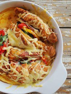 Serpenyős sült croissant-szendvics   Street Kitchen Croissant, Okra, Sandwiches, Food And Drink, Pizza, Snacks, Drinks, Cooking, Breakfast