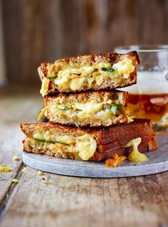 In a cheese toastie cook-off, chef Sasha Matkevich came out on top with this rich, cheesy comforting recipe with quick-pickled mushrooms.