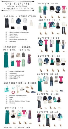 Beach Vacation Packing List for Your Next Getaway Outfit Posts: one suitcase: beach vacation capsule wardrobe (can work for cruise) WHAT TO PACK! Travel Wardrobe, Summer Wardrobe, Travel Outfits, One Suitcase Outfits, Packing Outfits, Packing Clothes, Capsule Outfits, Beach Vacation Checklist, Beach Vacations