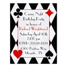 Casino Night Birthday Invitation