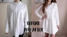 Super Easy Men's Shirt Refashion, Recycle / How to Alter a Men's Shirt in a Dress - Modern Diy Clothes Life Hacks, Clothing Hacks, Upcycled Clothing, Refashioned Clothes, Thrift Fashion, Diy Fashion, Punk Fashion, Fashion Dresses, Recycled Mens Shirt