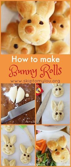 How to make bunny rabbit rolls! Step by step instructions for a fun Easter or themed treat. #easter #bunny Easter Snacks, Easter Appetizers, Easter Dinner Recipes, Easter Treats, Easter Desserts, Easter Food, Easter Salad, Easter Dinner Ideas, Easter Party