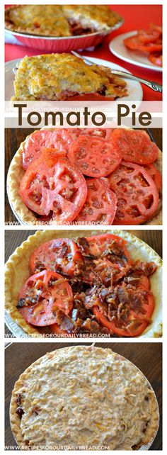 Tomato Pie Pinterest http://recipesforourdailybread.com/2012/05/24/tomato-bacon-pie-recipe-video/