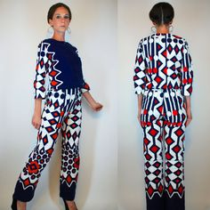 Vintage 60s Psychedelic Printed Op Art Jumpsuit Set. Cotton Tunic / Top + Bellbottom Pants. Boho Hippie Mod White Dress Playsuit Extra Small on Etsy, $188.00. I love I love I love I love. Always wanted to grow up to be #pulcinella