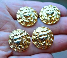 LION'S HEAD Buttons Set of Four Vintage Lion Head Brass Button